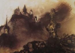 Ce détail d'un dessin de Victor Hugo représente un château fort juché sur un promontoire, empourpré (par le soleil couchant ?) et, au premier plan, une croix funéraire...