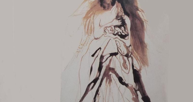 Ce détail d'un dessin de Victor Hugo représente une femme avec de longs cheveux, portant un masque, qui se dévoile et révèle un sein.
