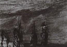 Ce détail d'un dessin de Victor Hugo représente trois tours qui se dressent dans un ciel sombre et tourmenté (au-dessus d'un empire en déclin ?).