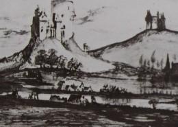 Ce détail d'un dessin de Victor Hugo représente des champs au bord d'une rivière et aux pieds de deux collines sur lesquelles sont juchés des châteaux.