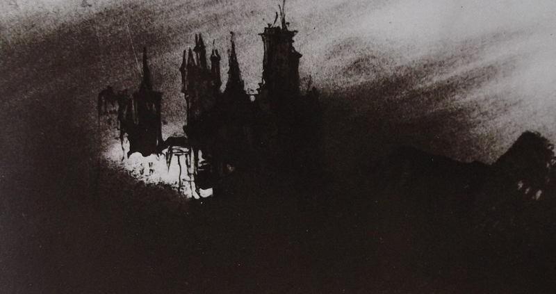 Ce détail d'un dessin de Victor Hugo représente un château, issu d'un songe de Shakspeare, fait d'ombre et de lumière.