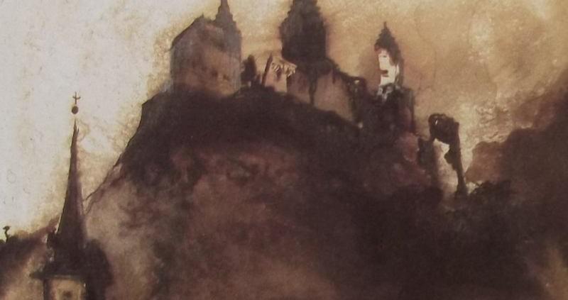 Ce détail d'un dessin de Victor Hugo représente une ruine juchée sur un promontoire au pied duquel on aperçoit le clocher d'une église.