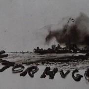 """Ce détail d'un dessin de Victor Hugo représente un village entouré de fumées. Sur sa terre est inscrit : """"VICTOR HUGO"""". """"Quand la terre est embaumée, Le cœur de l'homme est meilleur."""""""