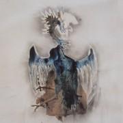 Ce détail d'un dessin de Victor Hugo représente un phénix, ou du moins un être ailé dressant sa collerette à la lumière.