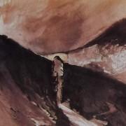 Ce détail d'un dessin de Victor Hugo représente un pont au-dessus d'un charmant vallon, près de l'océan.