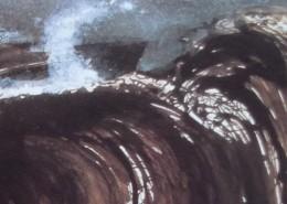 """Ce détail d'un dessin de Victor Hugo représente l'écume et la vague de """"la colère bouffonne"""" des adversaires de Victor Hugo."""