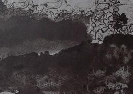 """Ce détail d'un dessin de Victor Hugo représente une colline recouverte d'un forêt où se promène le """"bel adolescent Avril"""", surmonté de la dentelle de ses rêves."""