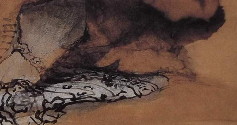 Ce détail d'un dessin de Victor Hugo représente un bras, une épaule recouverte de sa manche, qui émerge d'un lit. On croit voir un œil de dragon en haut à droite.
