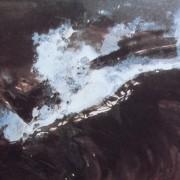 """Ce détail d'un dessin de Victor Hugo représente l'écume au-dessus de la vague, ange blanc qui semble s'extraire de la noirceur des flots des """"temps sombres""""."""