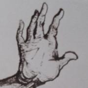 """Ce détail d'un dessin de Victor Hugo représente une main levée qui """"perce la triste brume""""."""