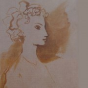 """Ce détail d'un dessin de Victor Hugo représente une jeune femme... qui """"prend doucement notre âme""""."""