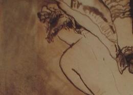Ce détail d'un dessin de Victor Hugo représente une jeune femme au buste nue, penchée vers la gauche. Un rideau s'écarte derrière elle.