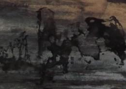 Ce détail d'un dessin de Victor Hugo représente des ruines sur un fond gris, et surmontées d'un ciel ocre.