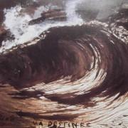 """Ce détail d'un dessin de Victor Hugo représente une vague qui s'abat dans une gerbe d'écume au-dessus de ces mots tracés de la main du poète : """"Hugo MA DESTINÉE""""."""