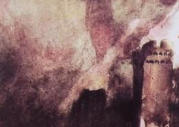 """Ce détail d'un dessin de Victor Hugo représente une tour crénelée adossée à une forteresse et surmontée d'un ciel dont """"l'ardent refrain flamboie""""."""