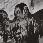 Ce détail d'un dessin de Victor Hugo représente une chouette, ailes déployées, clouée sur une porte (même si on ne voit pas la porte).
