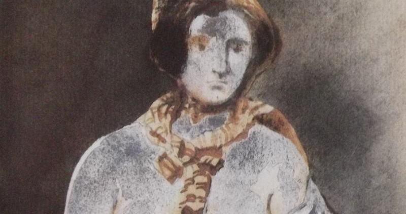 Ce détail d'un dessin de Victor Hugo représente une femme aux seins nus, avec un foulard autour du cou, et un béret sur la tête.