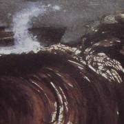 Ce détail d'un dessin de Victor Hugo représente une crête de vague. Une gerbe d'écume en forme de corne la surmonte, une sorte de tête de cheval apparaît sur la droite du dessin, surgi de la vague (est-ce Pégase ?).