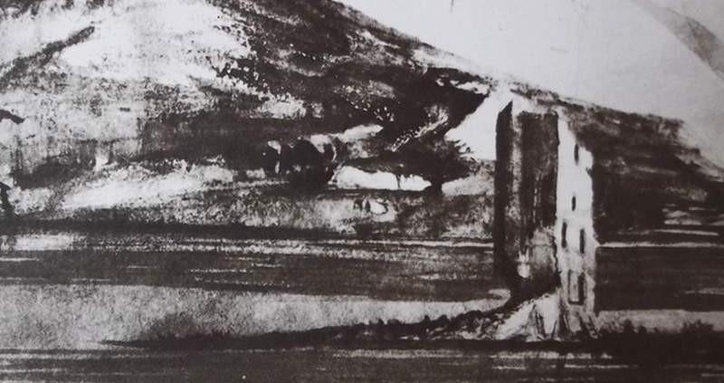 Ce détail d'un dessin de Victor Hugo représente une tour, qui se dresse sur un îlot au milieu d'un fleu, au pied d'une montagne. Hugo a représenté le Rhin.