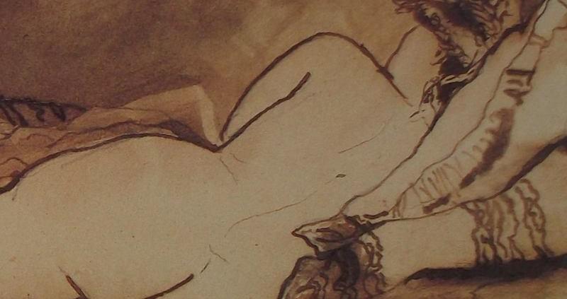Ce détail d'un dessin de Victor Hugo représente le dos d' une jeune femme allongée, la tête posée sur deux oreillers.