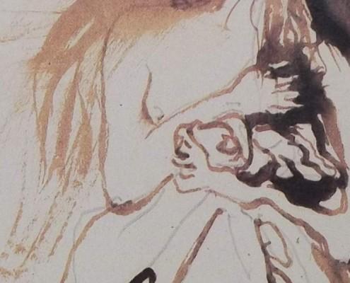 Ce détail d'un dessin de Victor Hugo représente le bras d'une femme, replié pudiquement sur sa poitrine. Elle maintient contre elle, avec son autre main, une forme au masque étrange.