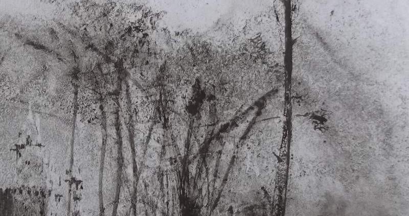 """Ce détail d'un dessin de Victor Hugo représente les bois où les """"faunes ont caché ta lyre"""", ô vers ! On aperçoit, en bas à gauche les tours d'un château de conte de fée."""