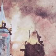 """Ce détail d'un dessin de Victor Hugo représente une tour bleue, ronde, lumineuse, associée à une tour sombre, sous un ciel flamboyant, en un """"éclat de rire enfantin""""."""