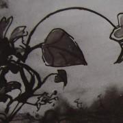 """Ce détail d'un dessin de Victor Hugo représente une fleur, des feuilles, au bout de leurs tiges, telles une allégorie du printemps mettant """"l'hiver en déroute""""."""