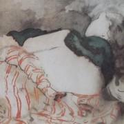 Ce détail d'un dessin de Victor Hugo représente une jeune femme allongée, dos tournée, les épaules recouveertes d'une mantille.