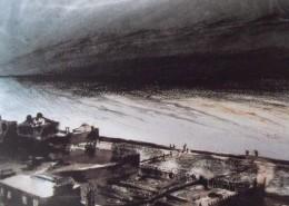 Ce détail d'un dessin de Victor Hugo représente une ville en bord de mer au rivage battu par l'océan. Le ciel et les flots se confondent à l'horizon... un premier mai ?
