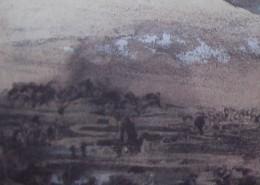 Ce détail d'un dessin de Victor Hugo représente la campagne, avec un village, et une tour au premier plan. Une ombre étrange apparaît dans le coin supérieur droit.