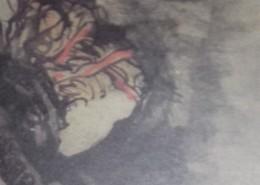 """Ce détail d'un dessin de Victor Hugo représente la tête tournée vers le bas d'une """"femme habile à se taire""""."""