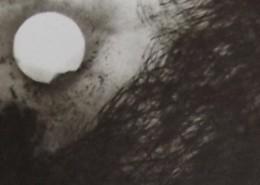 """Ce détail d'un dessin de Victor Hugo représente la lune, et une aile appartenant au """"vol monstrueux et vague des diables""""."""