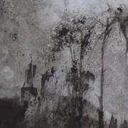 """Ce détail d'un dessin de Victor Hugo représente les tours d'un château qui apparaissent dans un bois, où le """"ciel charmant se mire à la source""""."""