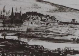 Ce détail d'un dessin de Victor Hugo représente un village au bord d'une rivière. On aperçoit derrière les flancs d'une colline.