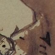 """Ce détail d'un dessin de Victor Hugo représente le sein d'une femme qui émerge d'une mante, ou d'un """"foulard pour cachemire""""."""
