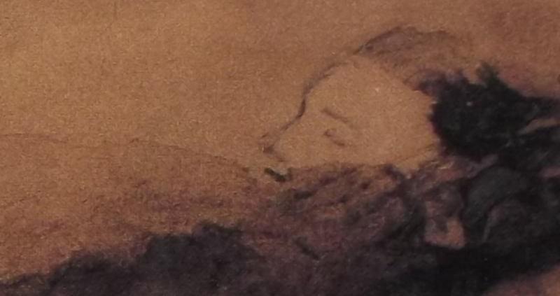 Ce détail d'un dessin de Victor Hugo représente le visage d'une très jeune femme (une enfant ?), aux yeux fermés, qui apparaît derrière, ou au-dessus d'un mur (à moins que ce soit des couvertures).