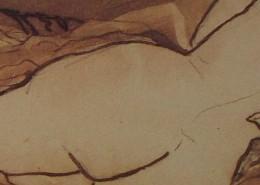 Ce détail d'un dessin de Victor Hugo représente les fesses d' une jeune femme, couchée de dos, dont on aperçoit le buste nu.