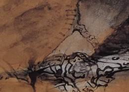 """Ce détail d'un dessin de Victor Hugo représente une partie d'un """"bras charmant"""" d'une enfant (ou d'une jeune femme?) qui émerge d'une manche pour se fondre dans un tissu."""