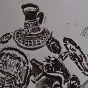 Ce détail d'un dessin de Victor Hugo représente le sommet d'un vase, décoré de motifs circulaires, et son bec verseur.