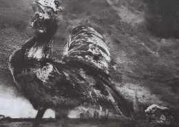Ce détail d'un dessin de Victor Hugo représente un coq poussant son cri entre la campagne et la ville qu'il domine de toute sa hauteur.