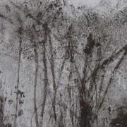 """Ce détail d'un dessin de Victor Hugo représente un sous-bois, d'où on aperçoit, """"dans une nudité de songe"""", les tourelles d'un château."""