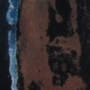 """Ce détail d'un dessin de Victor Hugo représente, de façon abstraite, la confrontation du bleu """"de droit céleste"""", de l' ocre, et du sombre."""