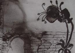 """Ce détail d'un dessin de Victor Hugo représente une fleur qui se dresse au-dessus d'un pont traversé par une troupe. Est-ce la """"danse des satyres"""" ?"""