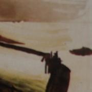 Ce détail d'un dessin de Victor Hugo représente une piscine, dans laquelle apparaît un nageur, en bord de mer. Une barque apparaît à droite ; au fond, l'horizon.