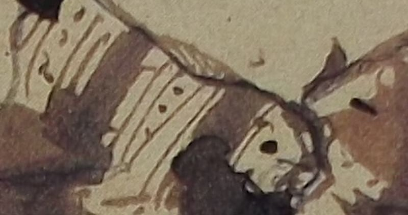 """Ce détail d'un dessin de Victor Hugo représente le décolleté, et un sein nu, d'une femme dont on ne voit pas la """"main colère""""."""