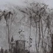 """Ce détail d'un dessin de Victor Hugo représente le donjon d'un château, avec ses tourelles, qui surgissent dans un bois, cachant un monstre """"dans ces buissons""""."""