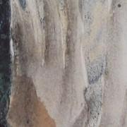 Ce détail d'un dessin de Victor Hugo, abstrait, représente des coulées verticales, depuis la plus sombres (bleu de Prusse) à gauche jusqu'à la plus blanche et lumineuse (proche de l'aurore) à droite.