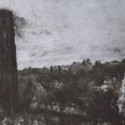 Ce détail d'un dessin de Victor Hugo représente une tour sombre qui se dresse à gauche, au-dessus d'une ville. Une église apparaît dans le coin droit, en silhouette, et le clocher d'une autre, blanche, juste en dessous.