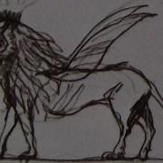 """Ce détail d'un dessin de Victor Hugo représente le lion d'Androclès, à l'instant où il fait """"flamboyer l'amour et la pitié"""", ce qui lui donne des ailes."""